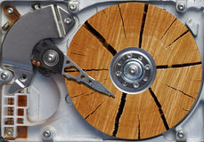 Very old hard disc. Detail of the hard disc and busbar - hard disc like woodblock Royalty Free Stock Photos
