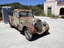 Very old immobile car, Rhodes, Greece Royalty Free Stock Photo