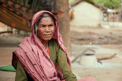 Very old indian villager woman. With dark complexion  looking at camera Stock Image