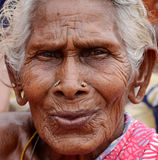 VERY OLD INDIAN VILLAGER WOMEN. Very old indian villager woman looking at camera.photo taken on:october 27th 2014 Stock Image