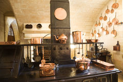 Very old kitchen. Old Kitchen from Chenonceau Chateau, France Stock Images