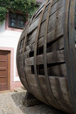Very old large wine barrel, oval shaped,side view Royalty Free Stock Photo