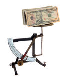 Very old letter scales with dollar notes Royalty Free Stock Photos