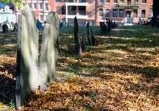 Image of American War of Independence graves seen in a famous Boston cemetery. Very old, mainly slate, gravestones for soldiers and casualties for the American Royalty Free Stock Photo