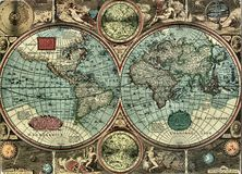Very Old Map Royalty Free Stock Photography