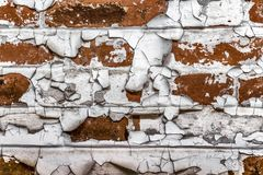 Very old brickwork. Very old masonry made of red brick. Wall with fallen off plaster Royalty Free Stock Images