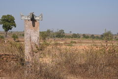 Very old memorial stone in bastar Royalty Free Stock Photo