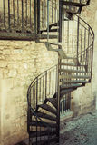 Very old outdoor spiral staircase. Europe Stock Image