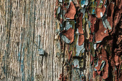 Very old paint on the wood close up. Very old peeling paint on the old wood close-up Stock Image
