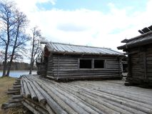 Very old people living homes in Latvia. Very old wooden home with herbs in Araisiai town, latvia stock photo