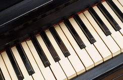 Very old piano with yellowish dirty keyboard Royalty Free Stock Image