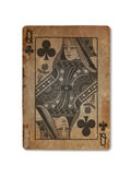 Very old playing card, Queen of clubs Stock Image