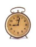 Very old retro alarm clock isolated on white Stock Photos