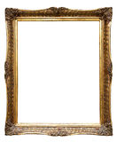 Very old retro golden old frame (No#8). Very old retro golden old frame, isolated on white Royalty Free Stock Image