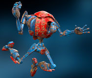 Very old robot jump blue background Stock Image