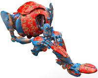 Very old robot jump cannon ball Stock Photography