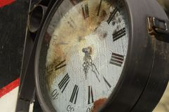 Very old and rusty street clock royalty free stock photography