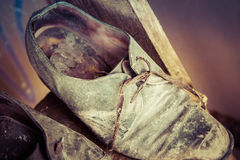 Very old shoes. Very old worn out shoes Stock Photos