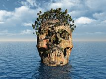 Very old skull. Skull (island) whit trees on water Royalty Free Stock Photography