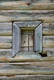 Very old small window of rural wood house,  Yuryev-Polsky, Russia Royalty Free Stock Photography