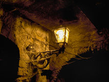 Very old street light, lamp outdoors with cobwebs. Royalty Free Stock Photos