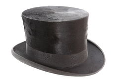 Very old topper hat. Over white background stock image