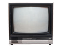 Very old TV set isolated over white in studio. Royalty Free Stock Image