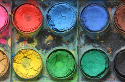 Very old used water color paint box. Top down view Royalty Free Stock Photo