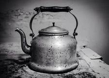 Very old vintage teapot b&w Stock Photos