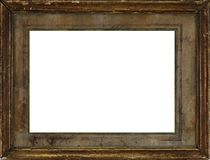 Very old vintage wooden frame. Isolated on white background royalty free stock photography