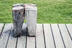 Very old vintage wooden stool Stock Photos