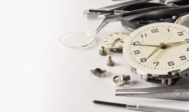 Very old watch in the process of repair royalty free stock photo