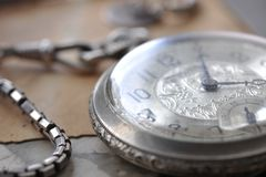Very old watch on the vintage post card and photo Stock Photography