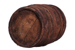 Very old wooden barrel with rusty fittings. On white Stock Images