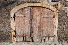 Very old wooden basement door Stock Photo