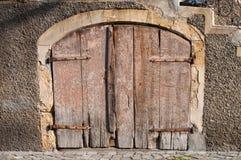 Very old wooden basement door Stock Photo