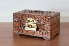 Very old wooden chest with simple lock Royalty Free Stock Image