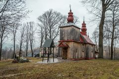 Church in Tyrawa Solna. This is a very old wooden church in Tyrawa Solna stock photos