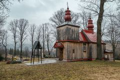 Church in Tyrawa Solna. This is a very old wooden church in Tyrawa Solna royalty free stock photos