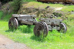 Very old wooden settlers wagon Stock Photos
