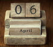A very old wooden vintage calendar showing the date 6th April Royalty Free Stock Photography