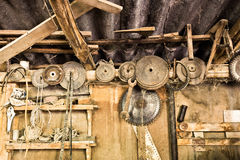 Very old workshop. Dusty old things in a long forgotten workshop Royalty Free Stock Photo