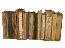 Very old and worn books isolated on white background. Royalty Free Stock Photo