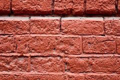 Very old, worn out red brick wall texture, background stock image