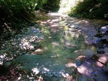 Very picturesque creek in the mountains. Very picturesque stream in the mountains enveloped in vegetation and trees Stock Photo