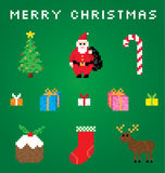 A Very Pixel Christmas. Cute pixel art of various Christmas icons Stock Image