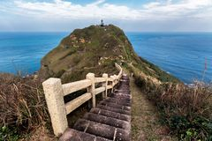 Breathtaking view of a hiking stairs trail in Taiwan. royalty free stock image