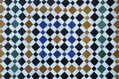 Very popular, colorful Zellige work, old Moroccan symmetrical tiling, mosaic wall in Marrakesh, Morocco stock photo