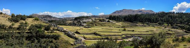 Sacsayhuaman Ruins in Cusco Peru Panoramic View. Very popular historical site with ancient incan ruins in Cusco Peru Stock Photography