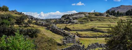 Sacsayhuaman Ruins in Cusco Peru Panoramic View. Very popular historical site with ancient incan ruins in Cusco Peru Royalty Free Stock Photos